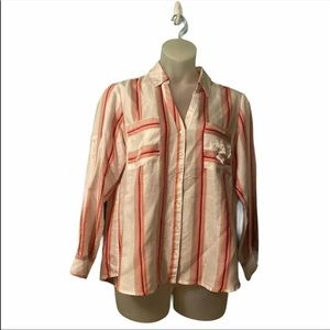 Express White Striped Button Down Silky Blouse Long Sleeve Top Extra Large XL